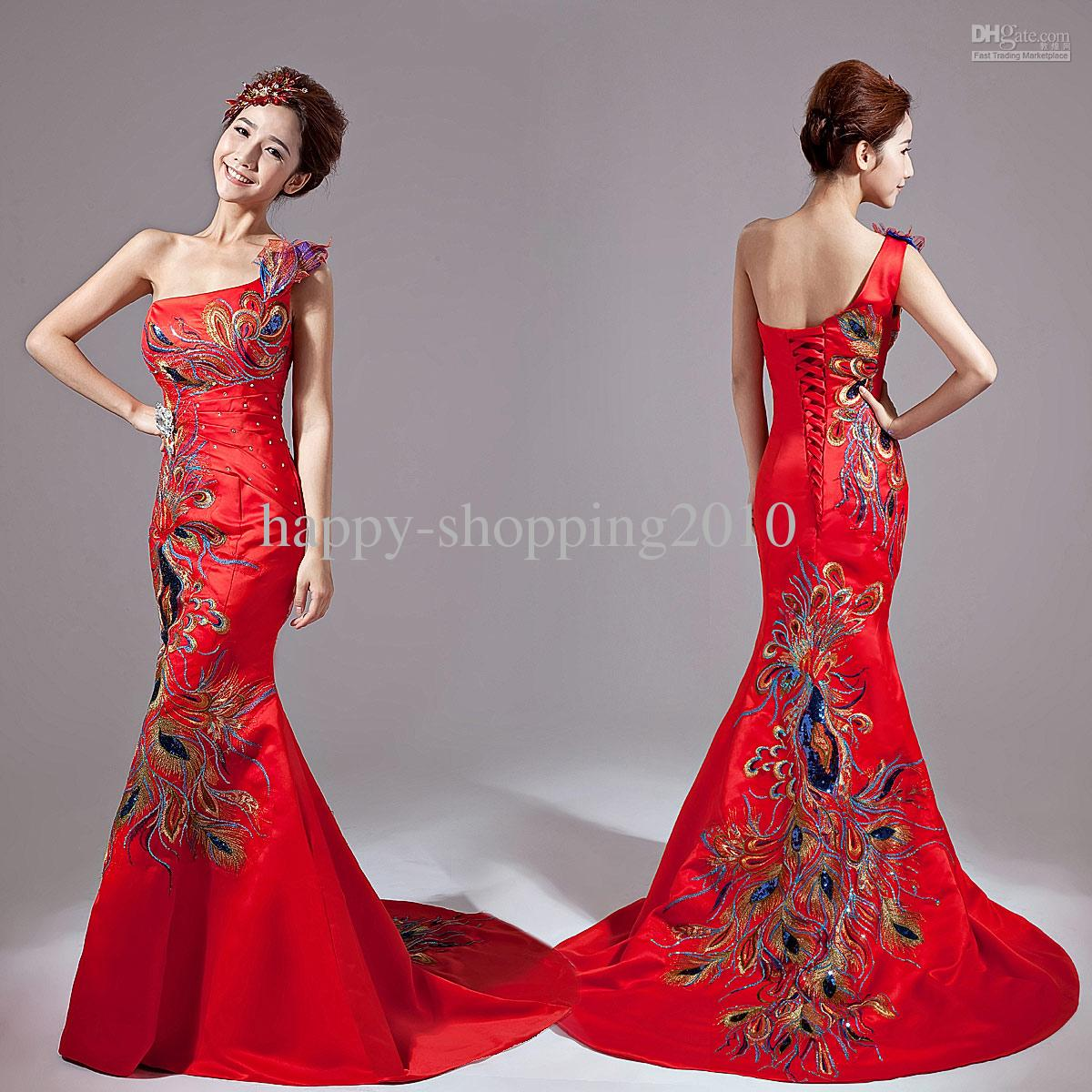 Hot Sale classical Red Chinese Embroidery Cheongsam Dragon