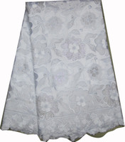 Wholesale by DHL high quality African embroidered swiss cotton voile lace fabric in WHITE handcut wedding fabric yds pc AF8054