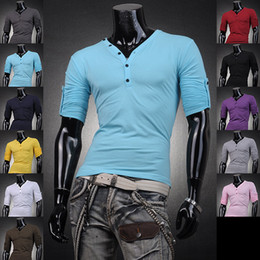 Wholesale Mens Designer Casual V Neck T Shirts Tee Shirt Slim Fit Tops New long sleeve t shirt S M L XL D304