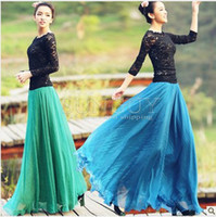 Wholesale 16 colors Fashion Bohemia Women s Chiffon Skirts Beach Party Dress ladies dress Long Maxi skirt for girl Stretch Waist Band dress skirt