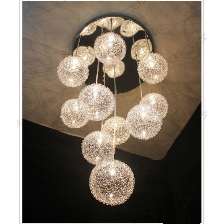 10 Heads Glass Aluminum Wire Balls Living Room Ceiling Pendant Light Dining Kitchen Stair Lighting Fixtures