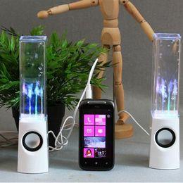 Wholesale Hot Selling Water Music Fountain Speaker Mini Speaker Colorful Water drop LED Lamp Dancing One Pair USB for Phone Computer Laptop MP3