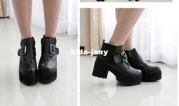 Wholesale Punk Rock Buckle Strap Chunky Heels Platform womens Ankle Boots Shoes by Regisgered Chinapost Airmail