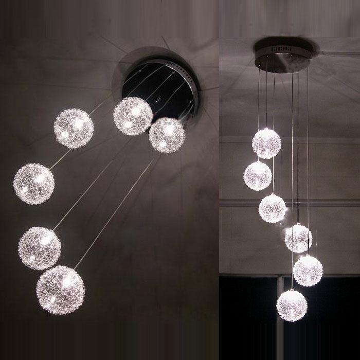 6 Glass Aluminum Wire Balls Stair Case Pendant Light Living Room Kitchen Dining Ceiling Lamp Chandeliers Fixtures
