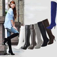 Wholesale Large size boots size US New Black Sexy Suede Over Knee High Heel Boots Pointed Toe womne shoes7Colors MLE858