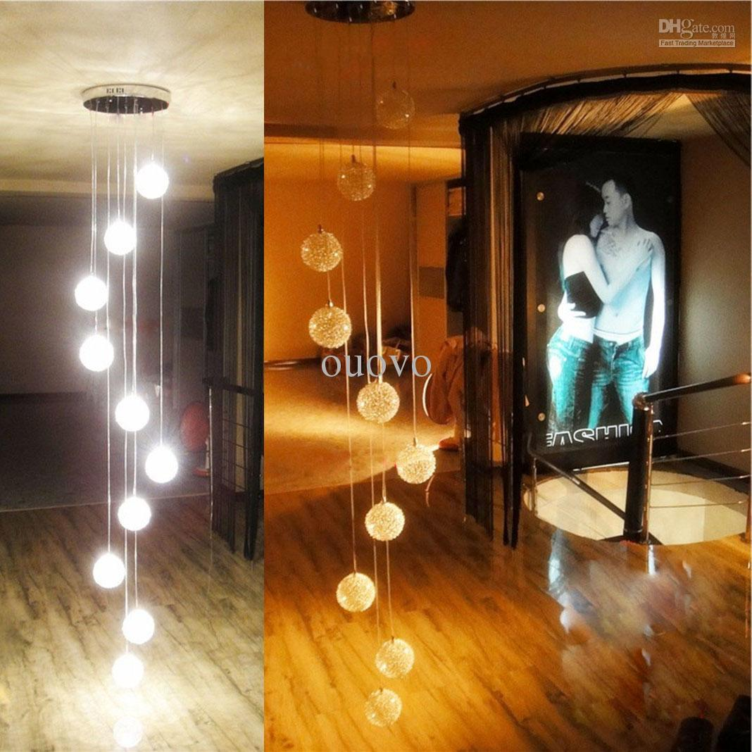 200cm Height 10 Glass Aluminum Wire Balls Stair Pendant Light Living Room Kitchen Dining Ceiling Lamp Fixtures