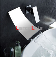 bathroom sink - Waterfall Wall Mounted Faucet Dual Holes Widespread Contemporary Bathroom Sink Sanitary Mixer Tap Torneira Chrome Finish