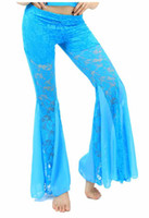 Wide Leg belly dance bells - Promotion belly dance pants lace rotation costume trousers bell bottomes C1145