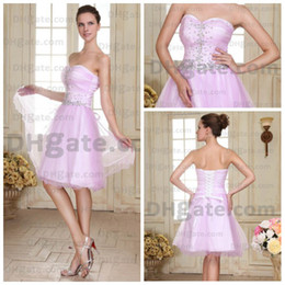 Wholesale Whole Sale Strapless Sleeveless Handmade Beaded Sweetheart Short Length A Line Lace Up Back Organza Cocktail Dress Prom Dress Party Dresses