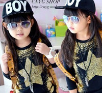 Wholesale 2013 Children Girls Boys Novelty Gold Blocking Rivet Star Pattern Black Long Sleeve Casual Shirs Autumn Kids Tops Shirt B1162