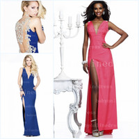 Wholesale New Arrival Pageant Dresses Deep V Neck Back Rhinestone amp Crystal Beaded Glitz Royal Blue Side Slit Formal Prom Clothes TE