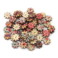 Wholesale 100pcs Fashion Hot Flower Shaped Fastener Mixed Designed Hole Wooden Sewing Buttons Scrapbooking mm