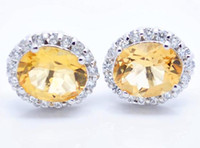 Cheap Stud earring Natural citrine earrings,925 silver plated 18k white gold earring Free shipping Perfect Jewelry#DH-080618