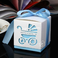 April Fool's Day best prams - Blue Color Cute New Pram Stroller Baby Cart Candy Boxes Best for Baby Shower Wedding Favor Bag