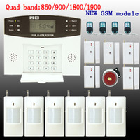 Wholesale GSM SMS Home Burglar Security Alarm System Detector Sensor Kit Remote Control
