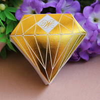 Wholesale Gold Luxury Diamond Shaped Wedding Gift Candy Boxes Wedding Party Favors