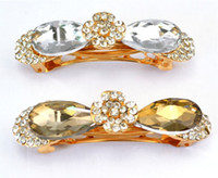 Wholesale charming gold plated alloy rhinestone bowknot drop crystal hair clip New In colors Hot Sale