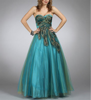 Cheap Peacock Prom Dress Ball gown Green Organza Custom made size :)