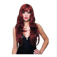 Wholesale Hot European and American ladies popular long curly wine red sexy hair wigs t5604