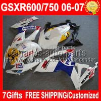 Comression Mold pepsi - 7gifts Cowl For SUZUKI white blue K6 GSXR600 GSX R750 C GSXR GSX R600 White PEPSI GSXR750 Fairings Kits