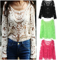 Long Sleeve Cotton  Hot!Fashion Semi Sexy Sheer Sleeve Embroidery Floral Lace Crochet Blouses