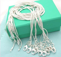 Wholesale 1mm inch silver Unisex snake chain necklace mix size new fashion silver jewelry charming chain necklace best gift