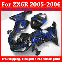 Cheap High grade moto fairing kit for KAWASAKI 2005 2006 ZX 6R blue flame in black popular motobike parts Ninja ZX6R 05 06 ZX-6R with 7 gifts gk3