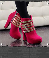 Women Wedges Wedge Hot Sale New Fashion European and American women boots thick crust thick waterproof high-heeled boots naked boots low tube boots free shippi