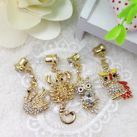 Wholesale For Iphone HTC Cellphone Mixed Style Rhinestone Crystal Charms Pendant Anti Dust mm Ear Cap Jack Plug Stopper