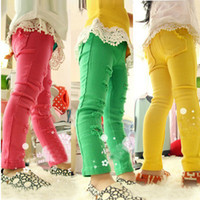 Wholesale 5pcs Children girl s spring hole child skinny pants pencil pants candy color three colors e016