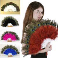 venda por atacado peacock feather fan-Olho bonito Peacock Marabou Feather Mão Fan Flamenco Burlesque traje para a dança 28 Penas Pieces