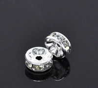 Wholesale A silver platd mm Flat Side Rhinestone Rondelle Spacers Beads
