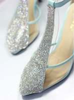 Wholesale T strap rhinestone wedding shoes diamond accessory sandal high heel white blue pink amazing sexy lady shoes bridesmaid shoes