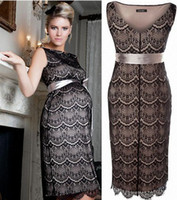 Wholesale Plus Size maternity dresses Comfort fashion Lace V collar Maternity Dress XXL Evening dress