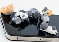 al por mayor tapones lindo gato-50pcs/lot 3D gato lindo polvo plug para iPhone Anti polvo polvo de Tapón Tapón Tapón para samsung jack de auriculares de 3,5 mm