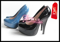 Women basic rounding - Size to Size Sexy Blue Black Patent PU ClosedToe High Heels Shoes Basic Quality Pumps Colors