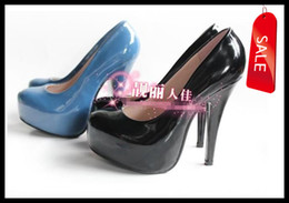 Wholesale Size to Size Sexy Blue Black Patent PU ClosedToe High Heels Shoes Basic Quality Pumps Colors