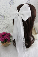 Wholesale Noble and beautiful white lace bridal headdress Korea pearl diamond hair ornaments handmade long bow hairpin