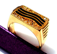 With Side Stones Men's Brass Black Onyx Oil drip Men's Ring 14K Yellow Gold GFOblong CZ Wedding Band