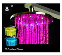 Cheap LED spray overhead shower head led top gush sprinkler water faucet Shower caddy