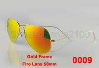 Wholesale 1pcs Mens Womens Designer Pilot Sunglasses Sun Glasses Gold Frame Fire Lens mm Eyewear Colors With Box And Leather Case