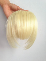 Wholesale Clips In On Bangs Hair Extension Fringes Remy Synthetic Wigs Platinum Blonde Color Long Side Earlock kg