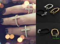 Wholesale 6 off new cheap color glamor models diamond cross ring gold elastic ring jewelery cheap rings YY
