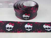 Wholesale 10 yards mm Black Monster high Skull girls printed Grosgrain ribbon Monster high girl hair bow ribbon