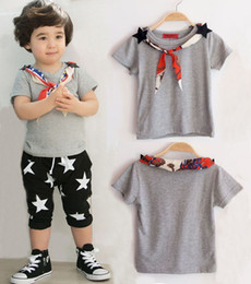 2016 Summer Children T-shirt Boys Gray Short Sleeve T-shirt Cotton Shirt With Scarf Kids Clothing Free Shipping