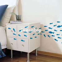 Graphic vinyl pvc cabinet door bathroom - Simple cartoon bathroom cabinet door wall stickers set fish