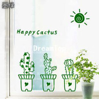 PVC pvc cabinet door bathroom - Cactus bonsai flower pot plant glass window sill bathroom cabinet door wall stickers