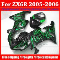For Kawasaki 2006 Ninja ZX-6R Customize motorcycle parts for KAWASAKI 2005 2006 ZX 6R Ninja green flame in black moto fairings kit ZX6R 05 06 ZX-6R with 7 gifts gk5
