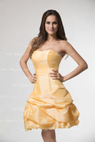 A-Line yellow ball gown prom dresses - 2013 Short Yellow Satin Evening Ball Cocktail Prom Bridesmaid Dresses Wedding Gown Lace Prom Ball Gown dhyz