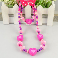 Wholesale Cute Wood Heart Kids Necklace Handmade Children Jewelry Set Love Heart Shape Design Beautiful Gift For Kids Baby Sets